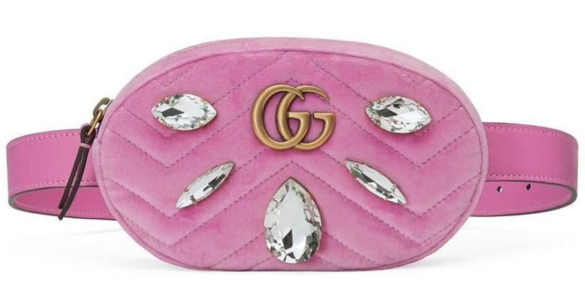 61c8a180e13 Lyst Gucci Gg Marmont Velvet Belt Bag In Pink