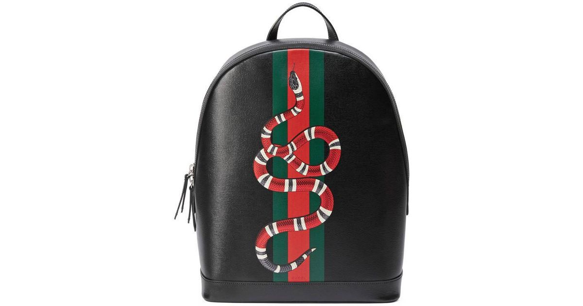 3df83454a3ae Lyst - Gucci Web And Snake Print Leather Backpack in Black for Men