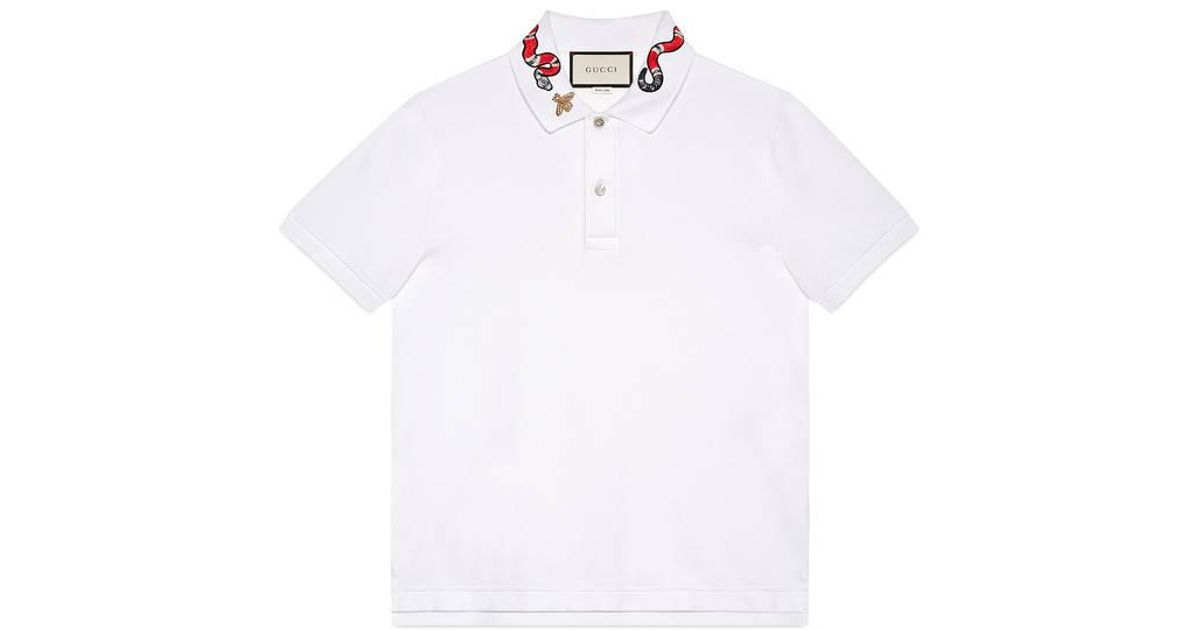 8b10cf2755e7 Gucci Cotton Polo With Snake Embroidery in White for Men - Lyst
