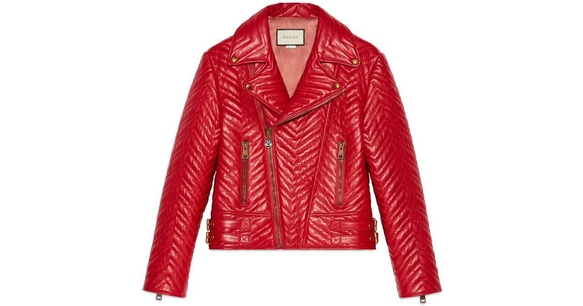 Gucci Heart Quilted Leather Biker Jacket in Red - Save 7.441860465116278% -  Lyst 85a2442e004