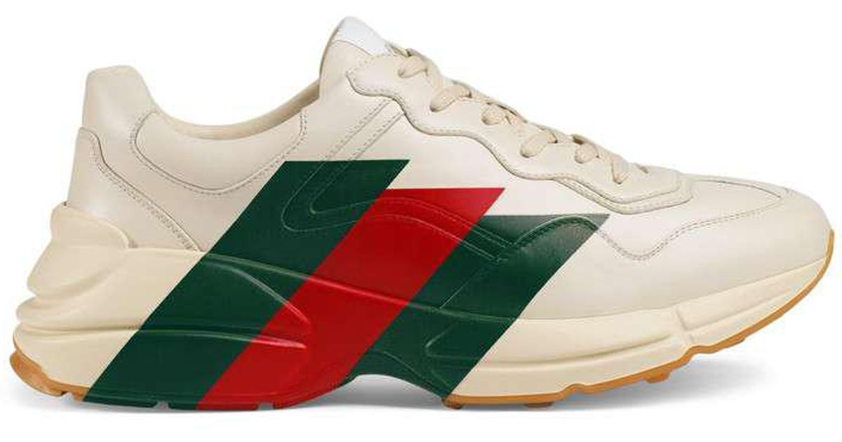 Rhyton Web print leather sneaker - White Gucci 1FbJYbeB