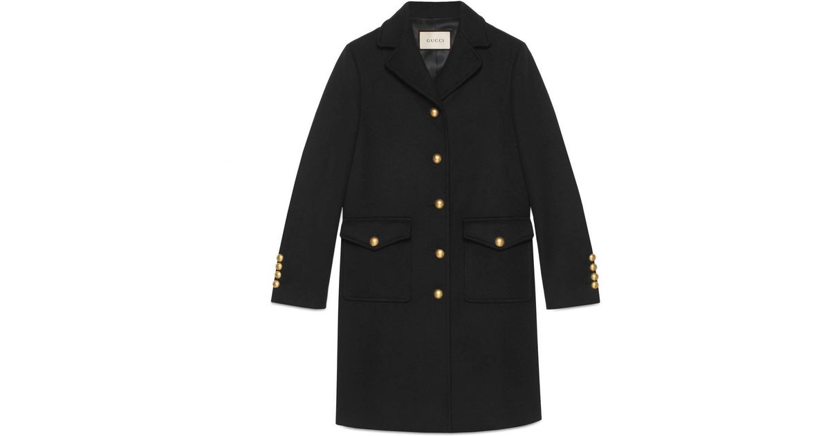 f4e10f3a3de Lyst - Gucci Wool Coat With Double G in Black