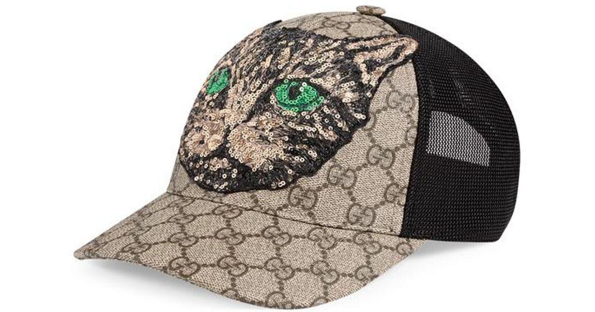 757b14f50 Gucci - Black Gg Supreme Mystic Cat Baseball Hat for Men - Lyst