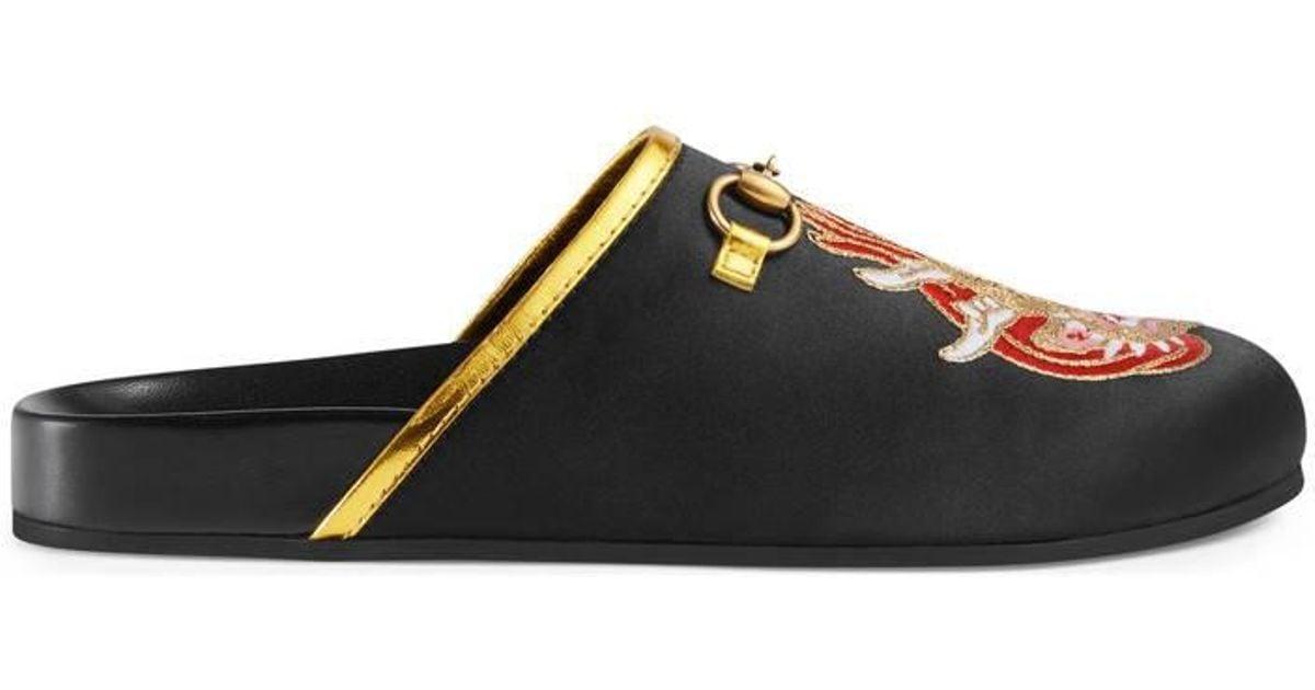 8a8247c5666c Lyst - Gucci Embroidered Satin Horsebit Slipper in Black