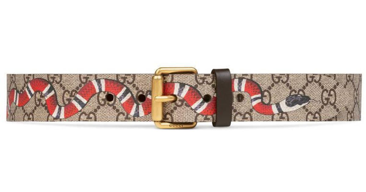 478d6c3cf86 Gucci Snake Print Gg Supreme Belt for Men - Save 36% - Lyst