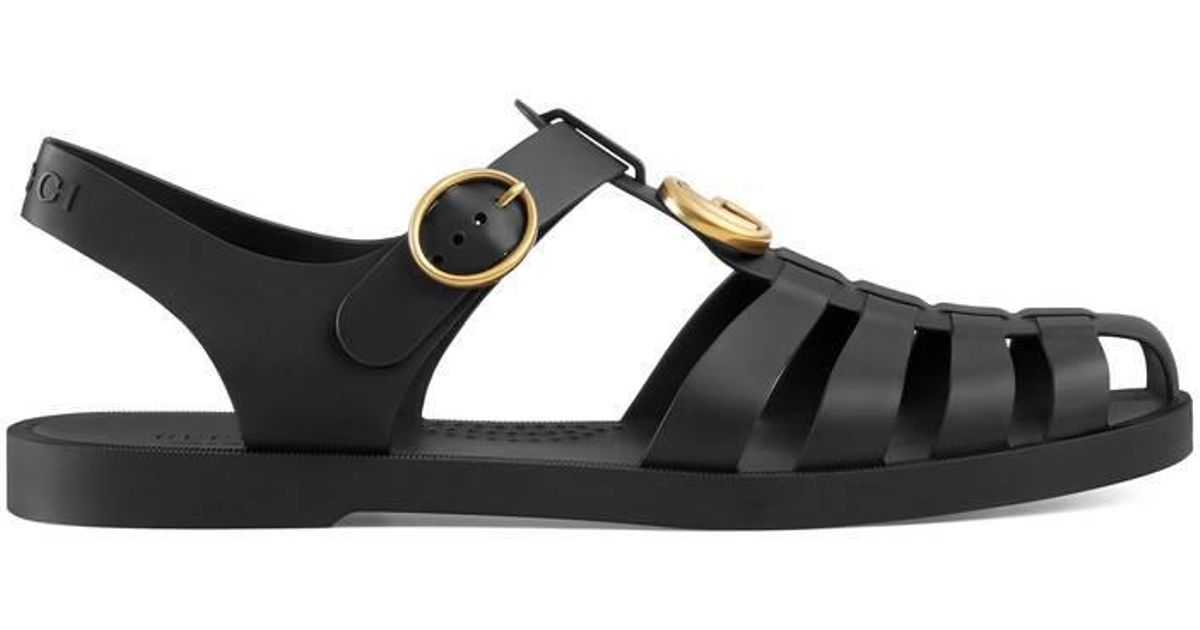 117a875cd Gucci Rubber Buckle Strap Sandals in Black for Men - Save 6% - Lyst