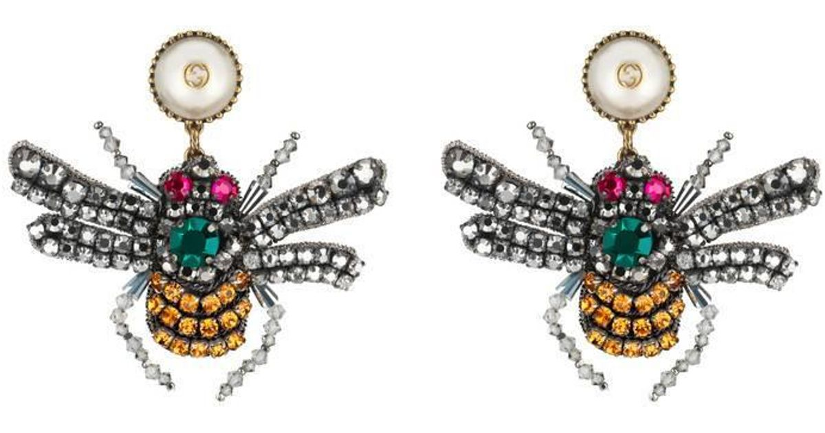 ece9014b823 Lyst - Gucci Crystal Embroidered Bee Earrings in Metallic