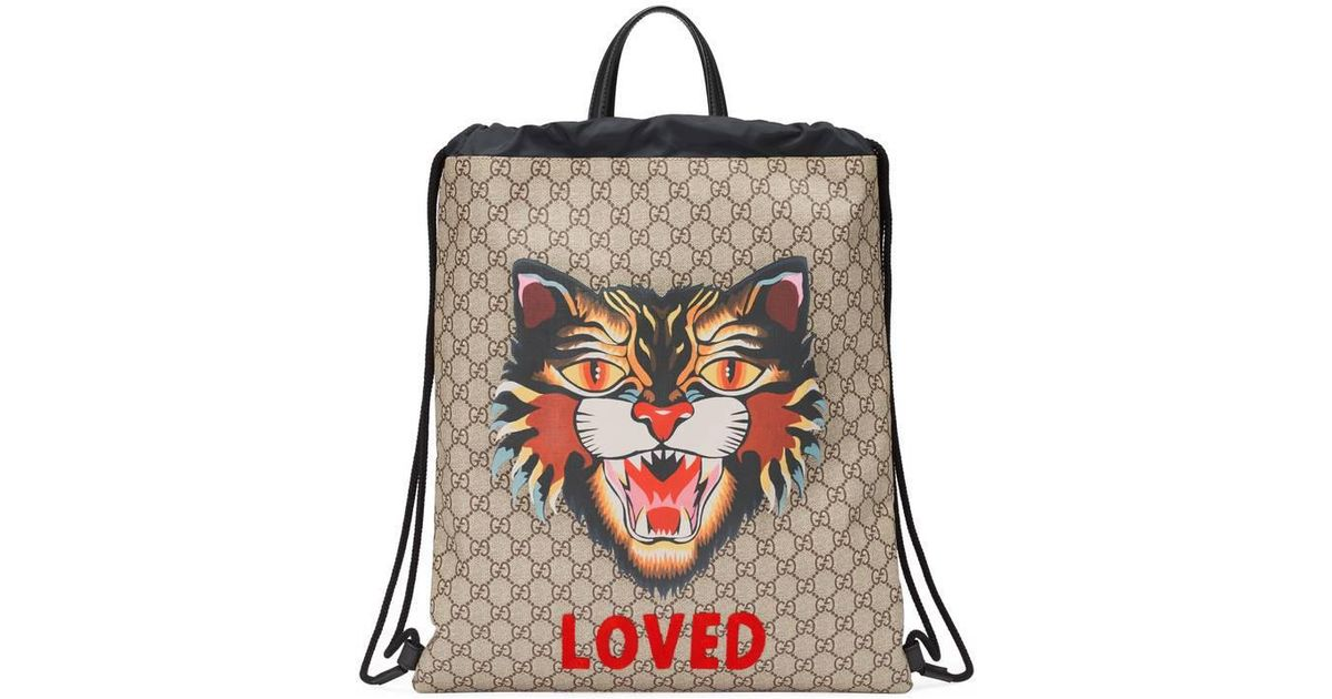5f5cf94f319 Lyst - Gucci Angry Cat Print Soft Gg Supreme Drawstring Backpack in Natural  for Men