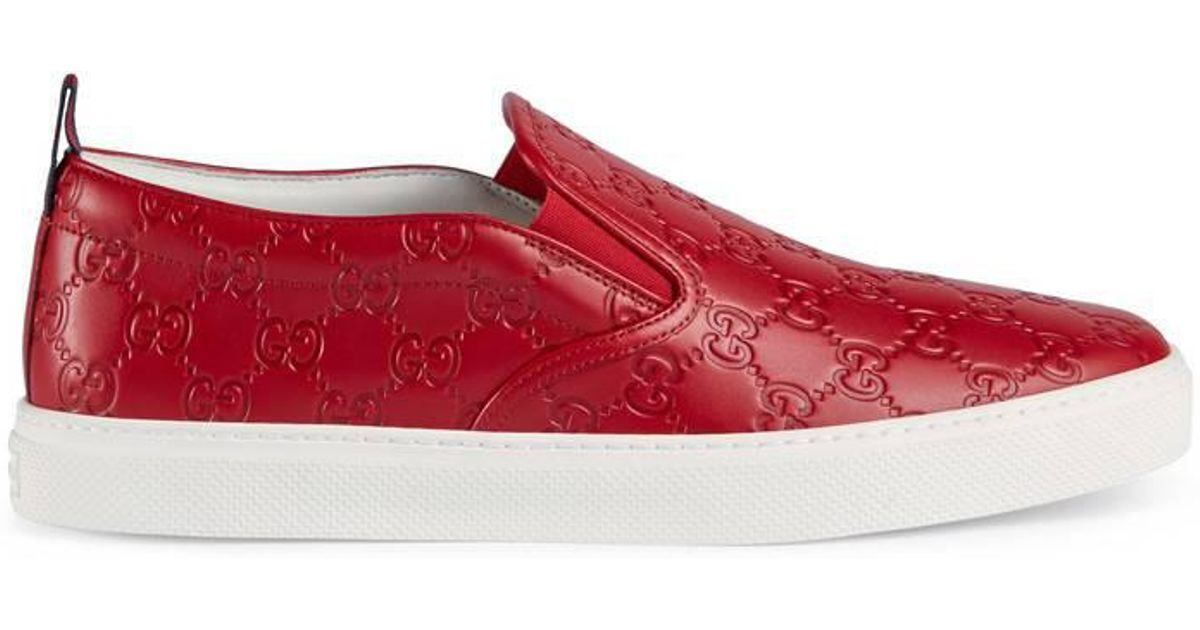c565aa86cc3 Lyst - Gucci Signature Slip-on Sneaker in Red