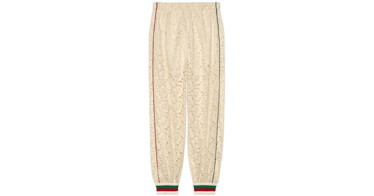 f131edcc39ab Gucci Flower Lace Jogging Pant Ivory in Natural - Lyst