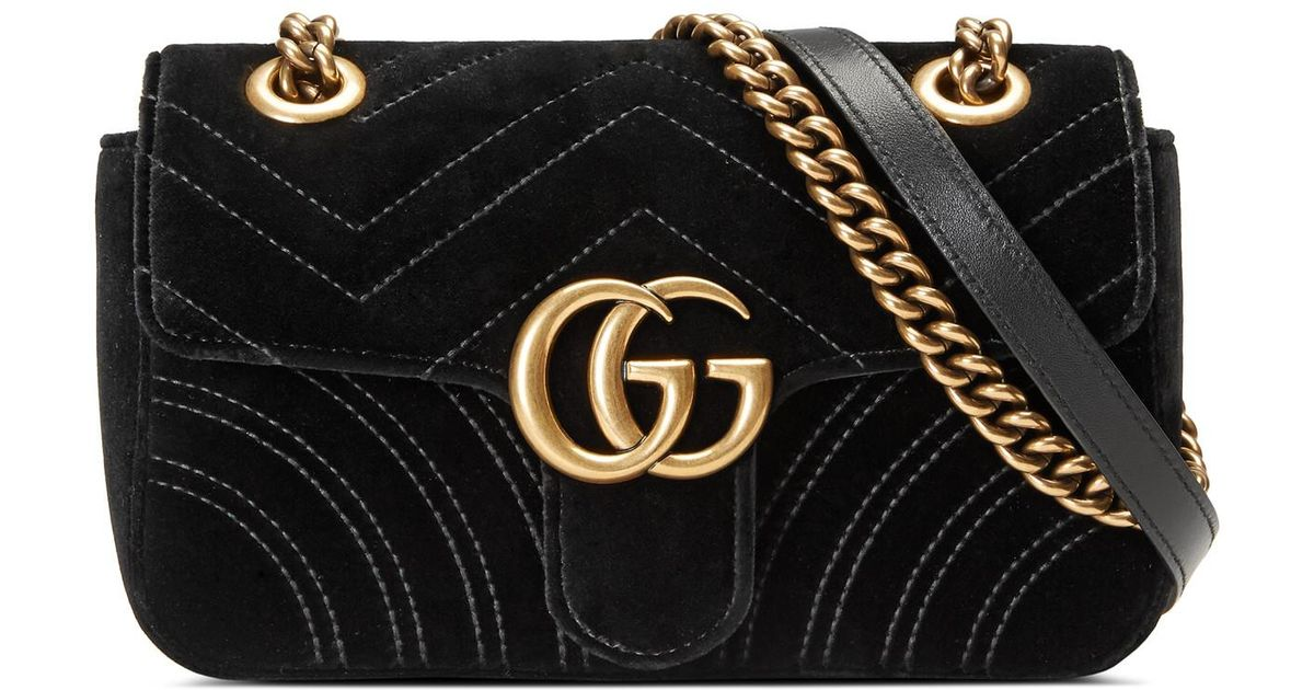 a7c4bf65061f Lyst - Gucci GG Marmont Velvet Mini Shoulder Bag in Black