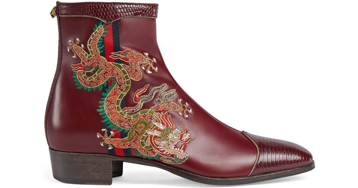 1596aaa12b1 Gucci - Brown Leather Boot With Dragon for Men - Lyst