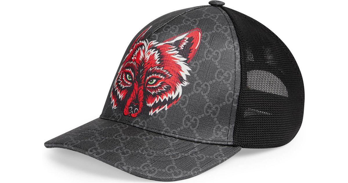 397e93305d8 Gucci GG Supreme Baseball Hat With Wolf in Black for Men - Save 42% - Lyst