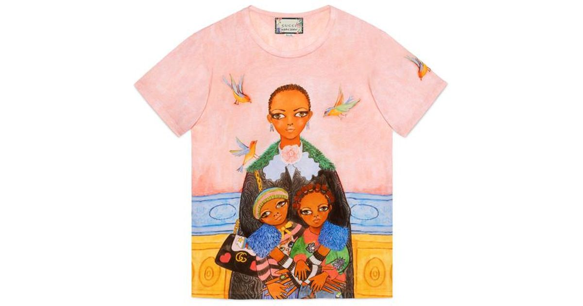 0fe78ec03d2 Lyst - Gucci Unskilled Worker T-shirt in Pink