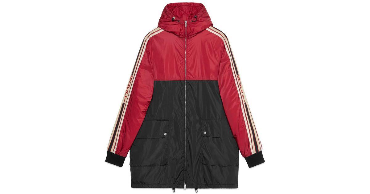 0d5bb8edfb474 Lyst - Gucci Hooded Nylon Sport Parka Coat In Black in Black for Men - Save  11.304347826086953%