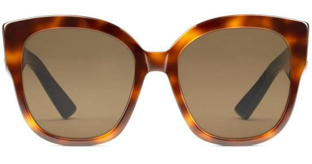 07c2504b4795 Gucci Square-frame Acetate Sunglasses With Web in Brown - Lyst