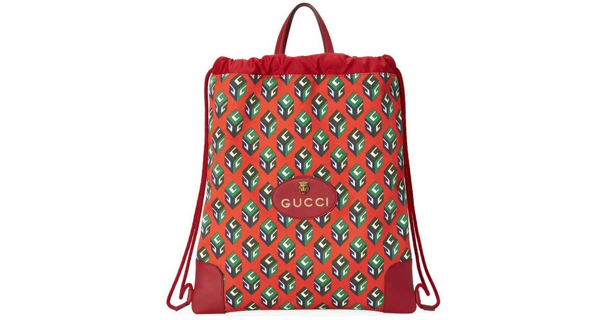 f72200001a8 Lyst - Gucci Gg Wallpaper Drawstring Backpack in Red