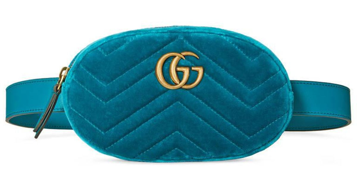945a9abc4632 Gucci Gg Marmont Matelassé Velvet Belt Bag in Blue - Lyst