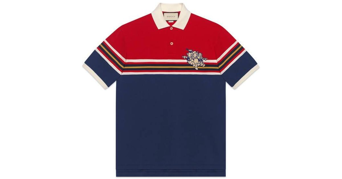 67cff0e56 Gucci Cotton Polo With Three Little Pigs in Blue for Men - Lyst