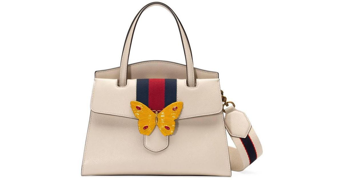 ed632fc74c82 Gucci Totem Leather Top Handle With Butterfly in White - Lyst