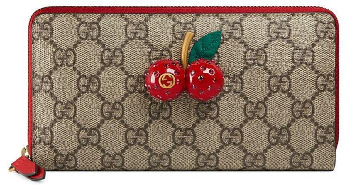 6691860fffd1 Gucci Gg Supreme Zip Around Wallet With Cherries - Lyst