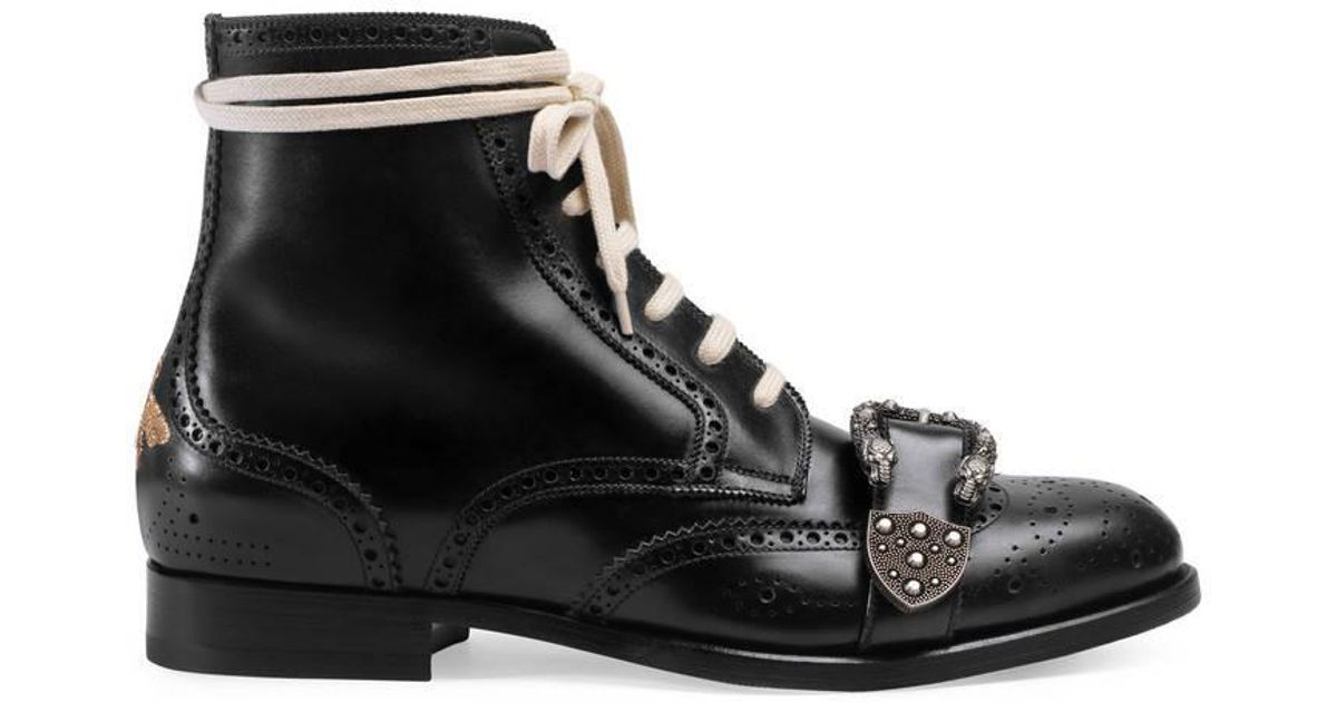 a5a4d2f7b5d Gucci Black Queercore Leather Brogue Boot in Black for Men - Save 9% - Lyst