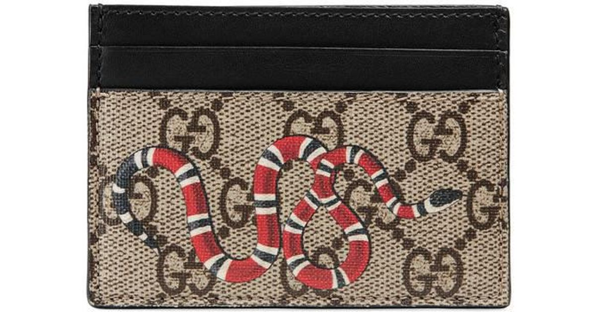 bdb6ab4abe0b Lyst - Gucci Snake Print Gg Supreme Card Case in Black for Men