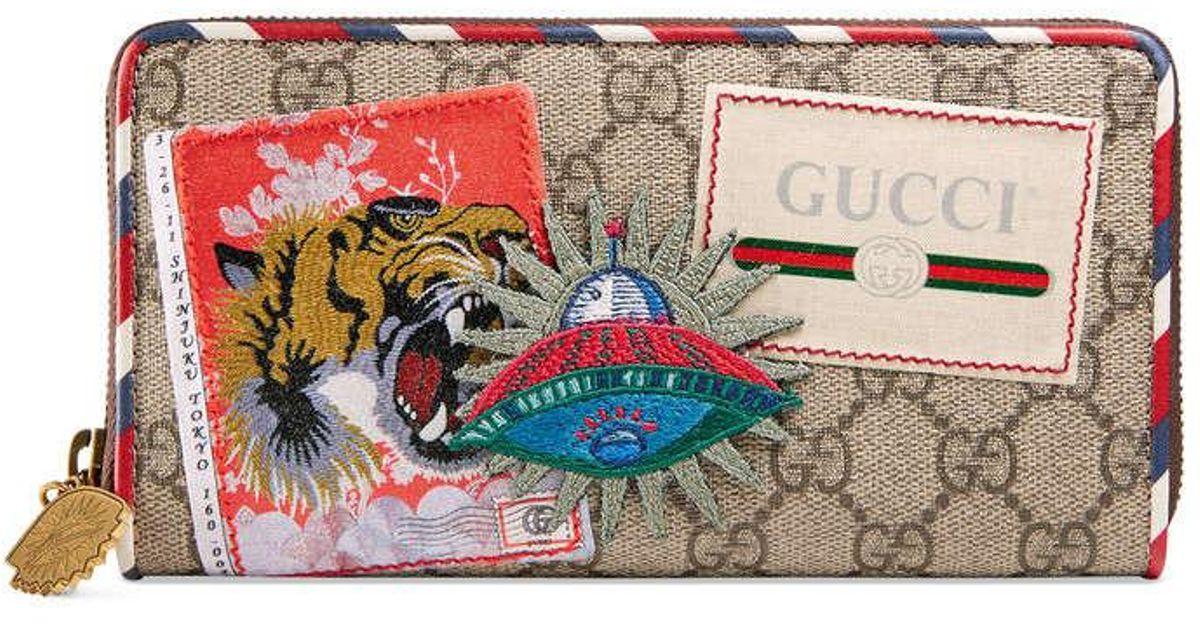a34262f8422 Lyst - Gucci Courrier Gg Supreme Zip Around Wallet Beige in Natural