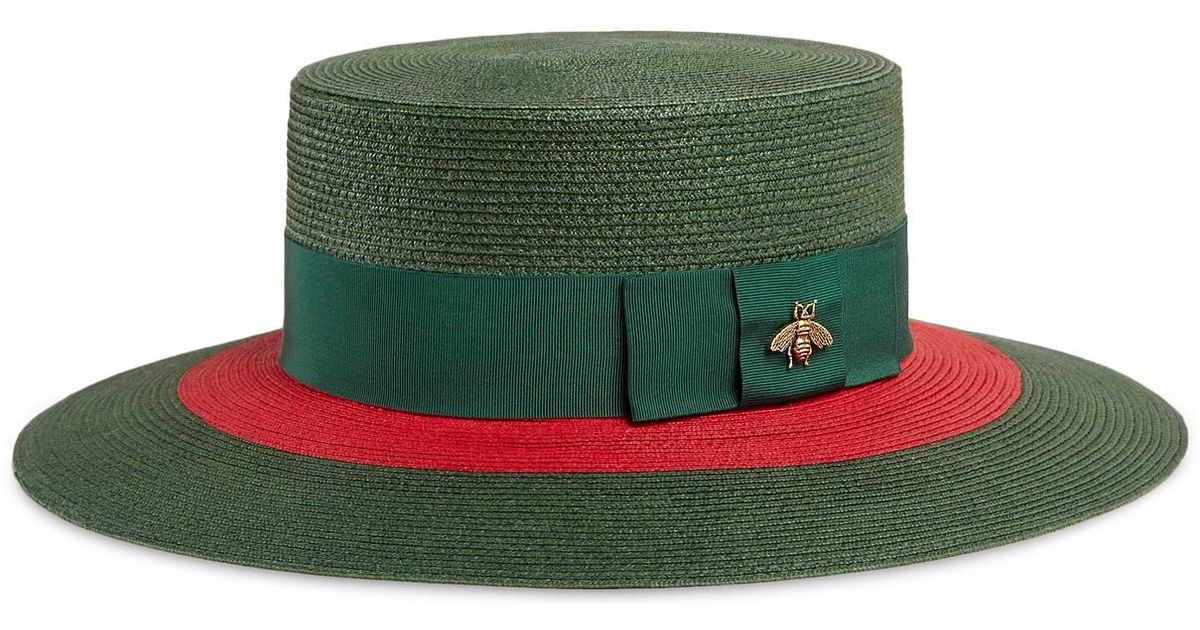 56ef5542 Gucci Green And Red Straw Hat in Green - Save 25% - Lyst