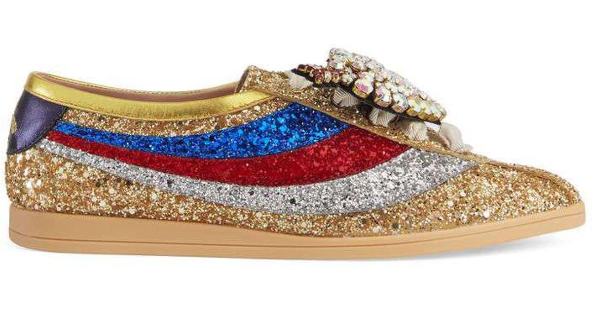 9f2ec1a3a Gucci Falacer Glitter Sneaker With Web in Metallic - Lyst