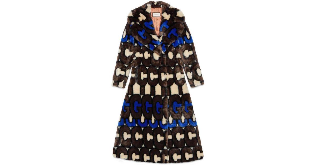 2518cb2c399 Lyst - Gucci Stripe Faux Fur Coat in Brown