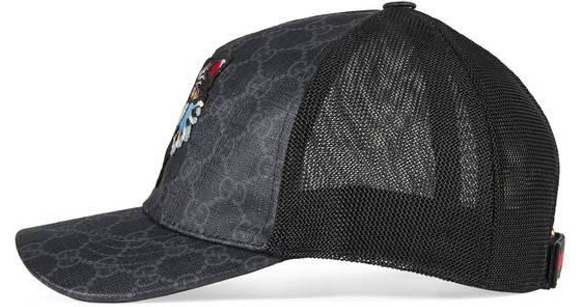 c5ca10af7b52ae Gucci Gg Supreme Baseball Hat With Angry Cat in Black for Men - Lyst