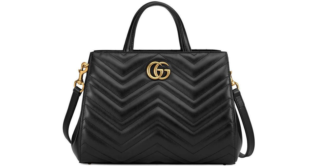 431f65b21ff Lyst - Gucci GG Marmont Matelassé Leather Top Handle Bag in Black