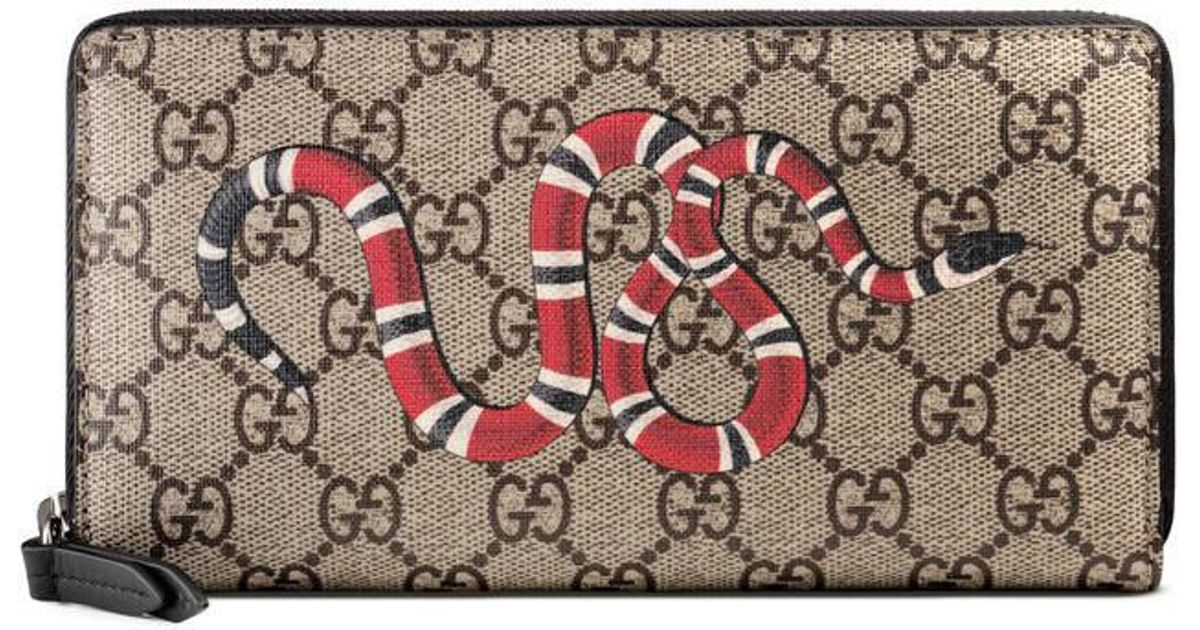 6a09c613d45 Lyst - Gucci Kingsnake Print Gg Supreme Zip Around Wallet