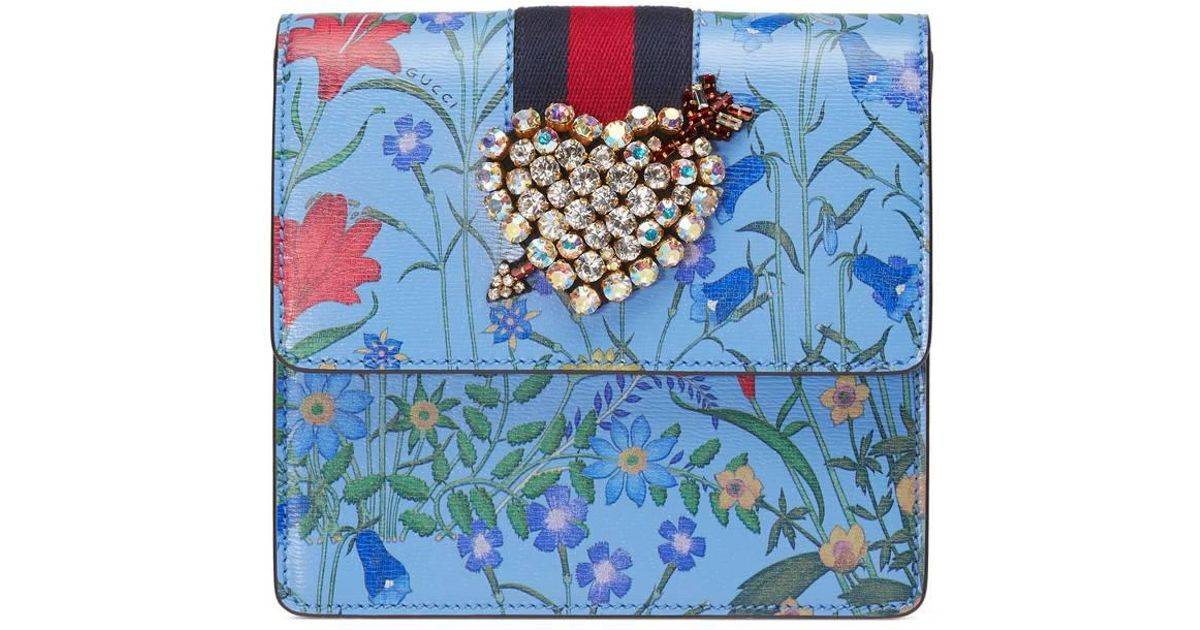 5c0b0a0ad Gucci Totem New Flora Print Leather Clutch in Blue - Lyst