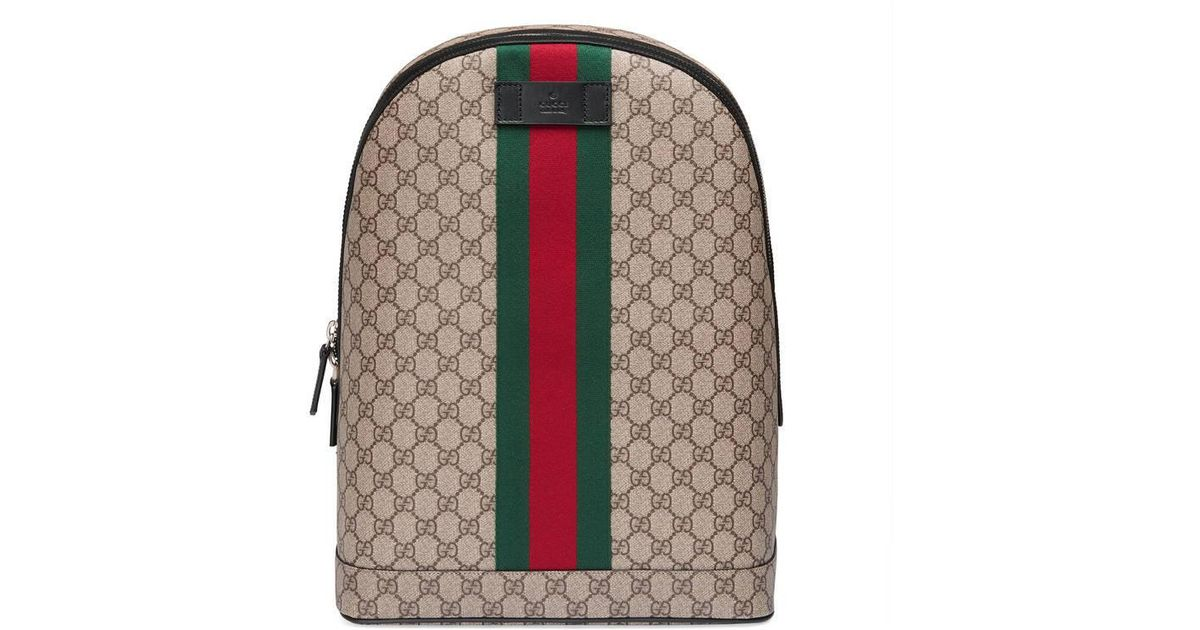 Gucci - Natural Gg Supreme Backpack With Web - Lyst f7554f7c8cadc