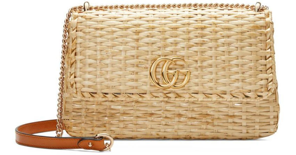 adf69ef154b Gucci Small Linea Cestino Glazed Wicker Shoulder Bag in Natural - Lyst