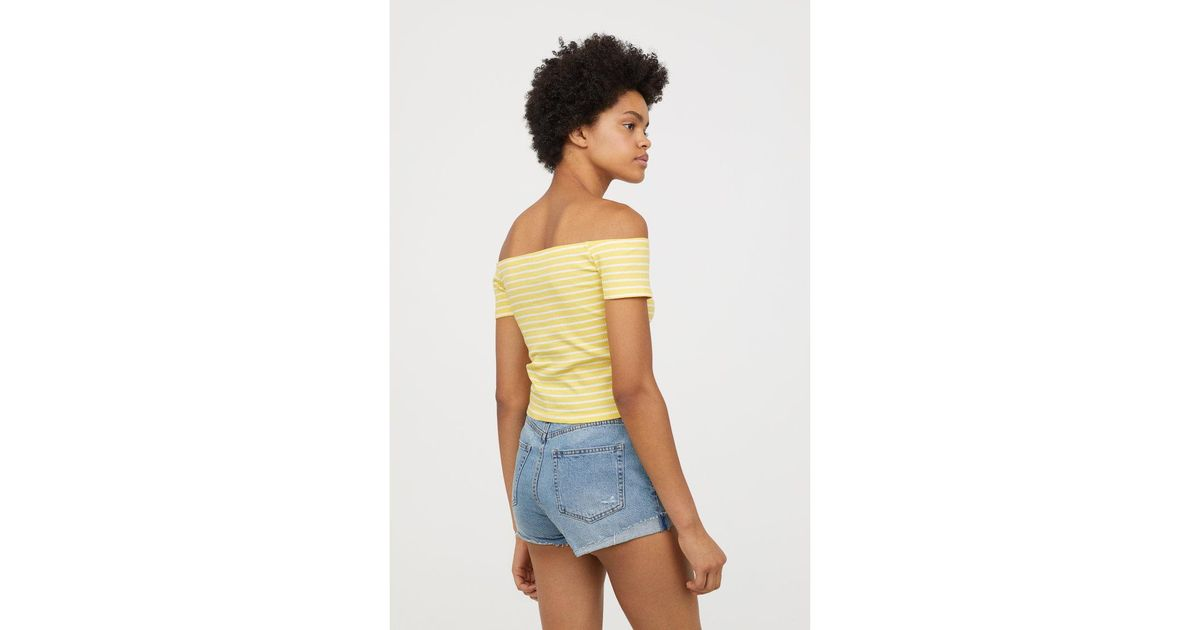 16f0575a9a3 H&M Ribbed Off-the-shoulder Top in Yellow - Lyst