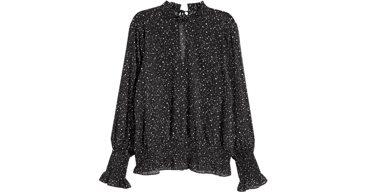 324a5c32a15 H&M - Black Crinkled Chiffon Blouse - Lyst