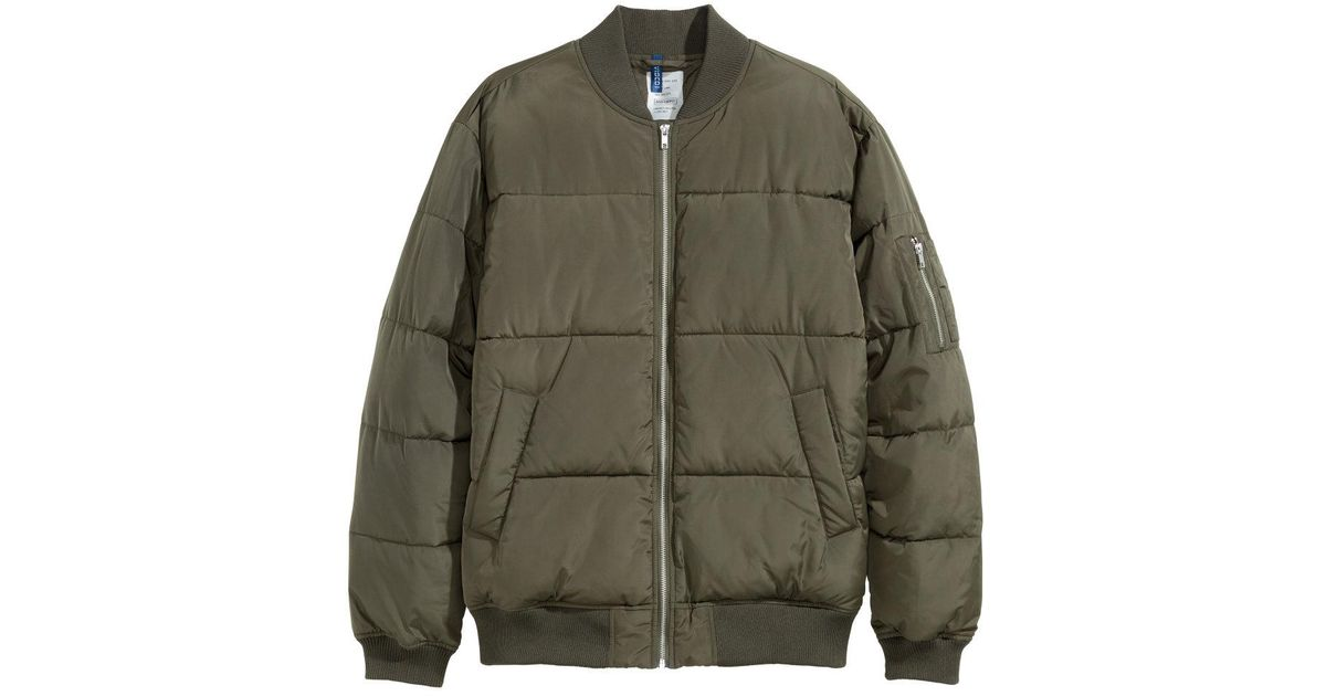Lyst Hm Quilted Bomber Jacket In Green For Men