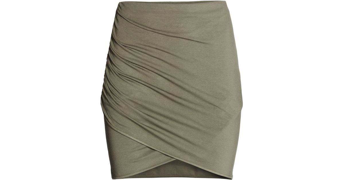 h m draped skirt in green khaki green lyst
