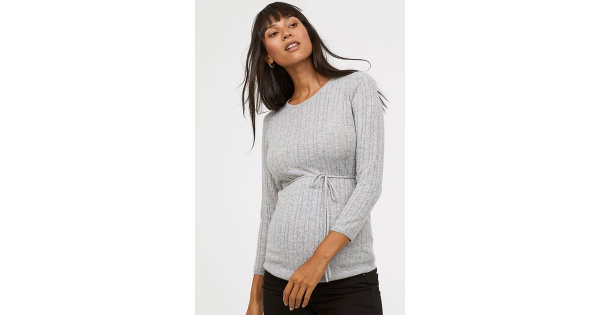 adf2096672 Lyst - H M Mama Cable-knit Sweater in Gray