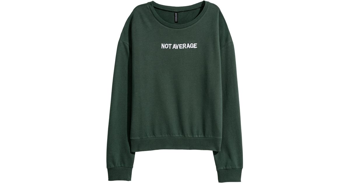 e630e710 H&M Sweatshirt With A Print Motif in Green for Men - Lyst