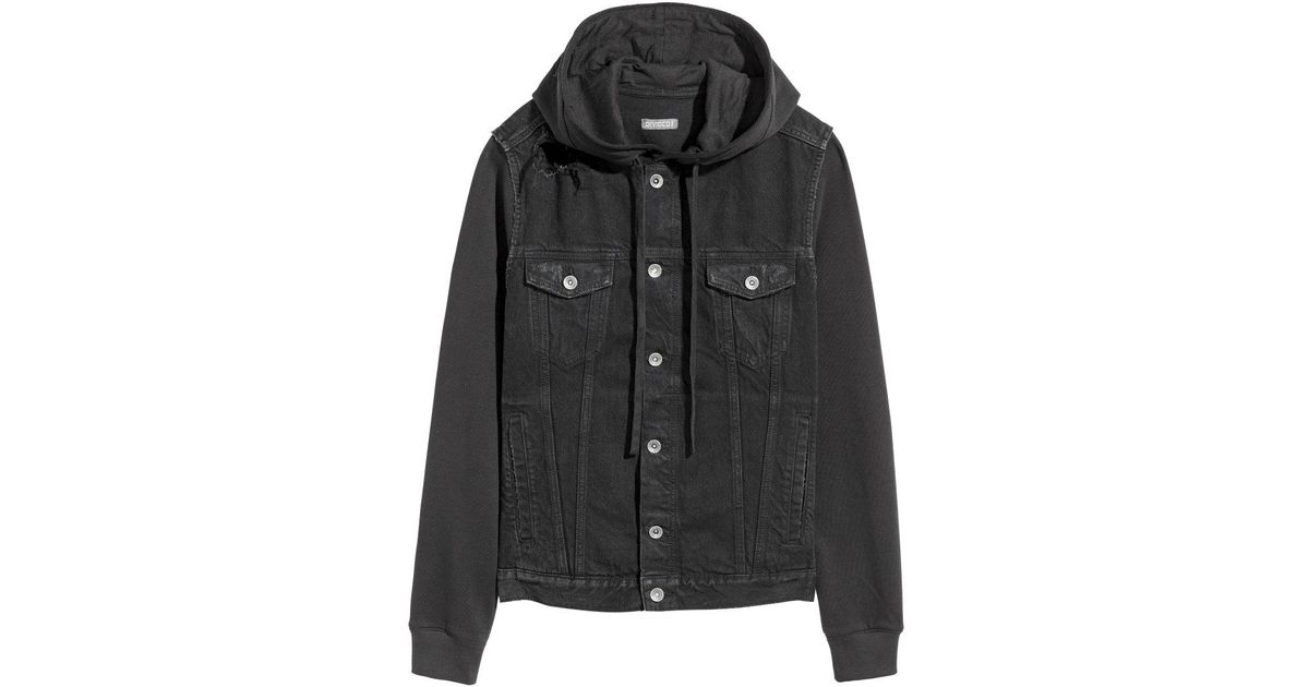 bd197c5f5e51 Lyst - H M Hooded Denim Jacket in Black for Men