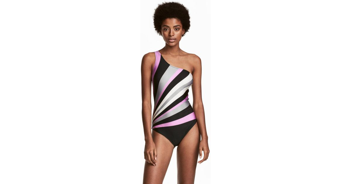 4247d6cd09 H&M One-shoulder Swimsuit in Black - Lyst