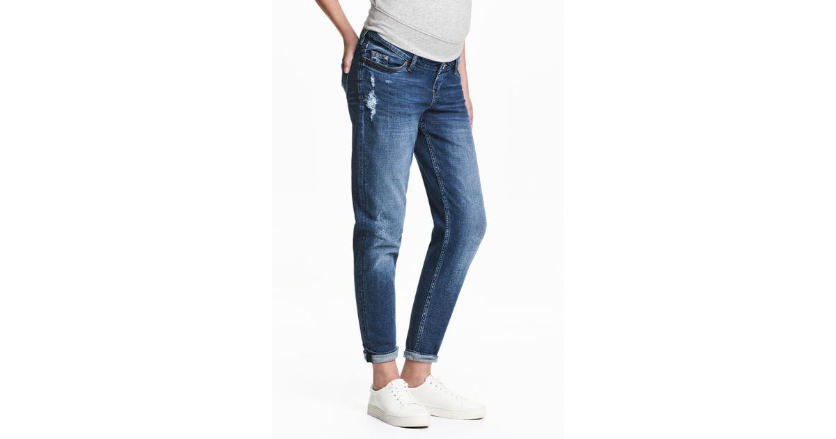 cf988b36da9c2 H&M Mama Boyfriend Trashed Jeans in Blue - Lyst