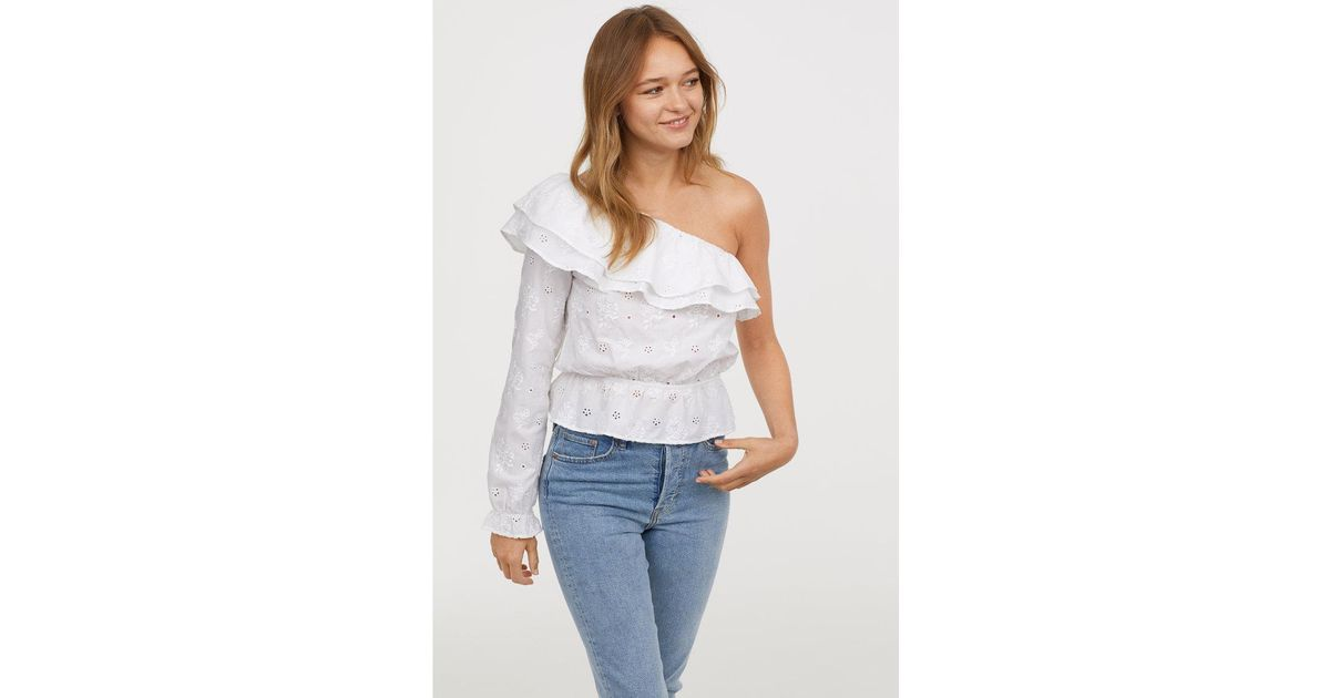 c560beb7683 H&M One-shoulder Top in White - Lyst