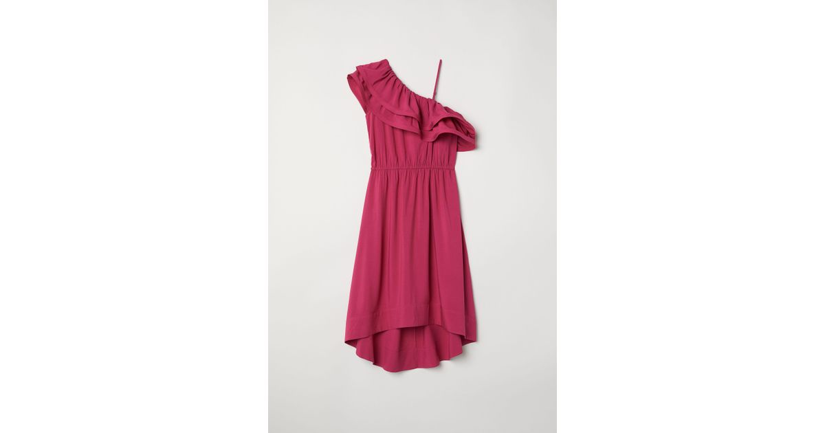 5147bab1e54e7 H M One-shoulder Dress in Pink - Lyst