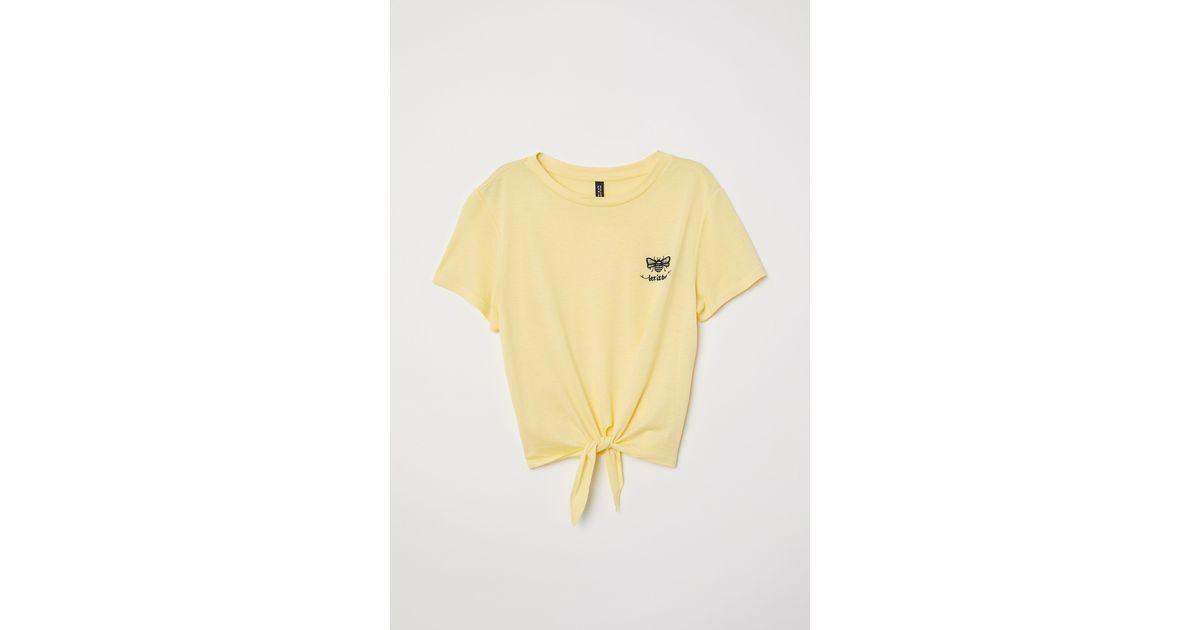 a566cc12e H&M Tie-hem T-shirt in Yellow - Lyst