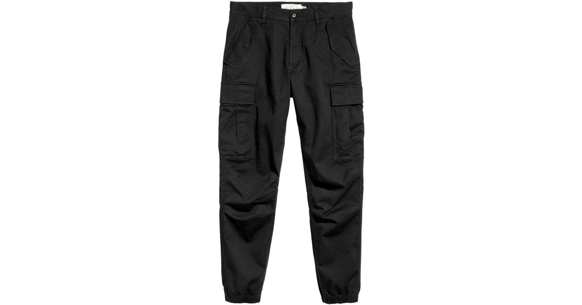 1905ee0bde H&M Cotton Twill Cargo Joggers in Black for Men - Lyst
